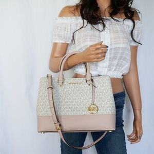 Michael Kors SAVANNAH LG Satchel Bag Vanilla Pink